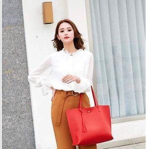 Handbags - Red Women's Soft Leather Tote Shoulder Bag
